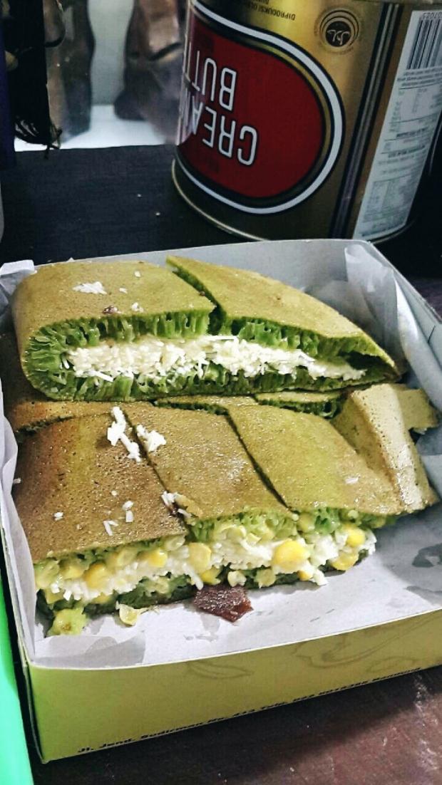 (upper) Martabak Greentea with Cheese,78k (down) Martabak Greentea with Cheese and Corn, 80k