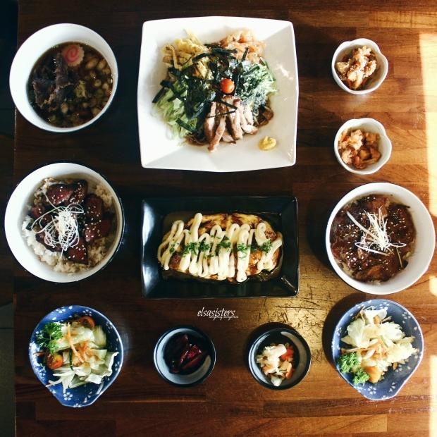 (CW) Mini Niku Udon (part of Mini Set), 80k ; Soy Sauce Cold Ramen, 60k ; Wagyu Teriyaki Don, 99k ; Tomato Cheese Omelette, 38k ; Buta Son (part of Mini Set), 80k